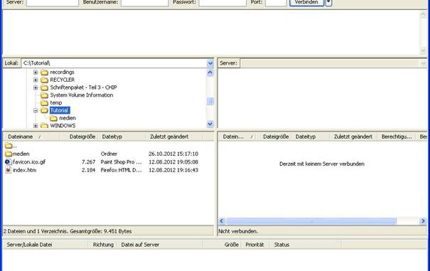 FTP mit Filezilla