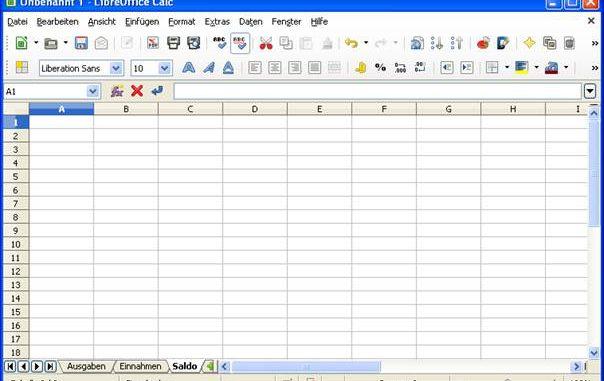 Haushaltsbuch erstellen mit Calc